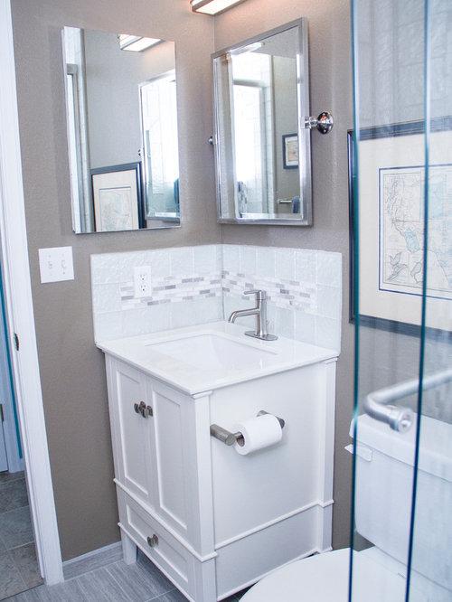 Salle d\'eau romantique avec un plan de toilette en marbre : Photos ...