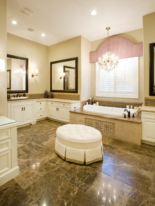 mid sized elegant master beige tile and stone tile marble floor bathroom photo in las