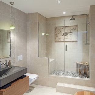 Inspiration for a contemporary alcove shower remodel in Denver with an integrated sink