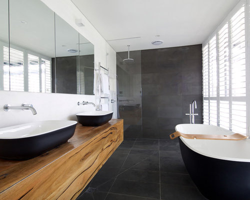 Matching floor and wall tile ideas houzz for Tv in bathroom ideas