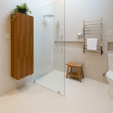 Open Shower with Linear Floor Drain