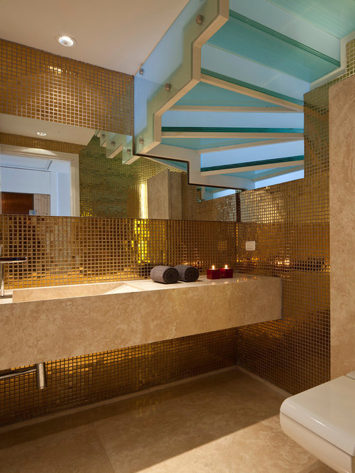 Inspiration For A Contemporary Mosaic Tile Bathroom Remodel In Tel Aviv  With An Integrated Sink