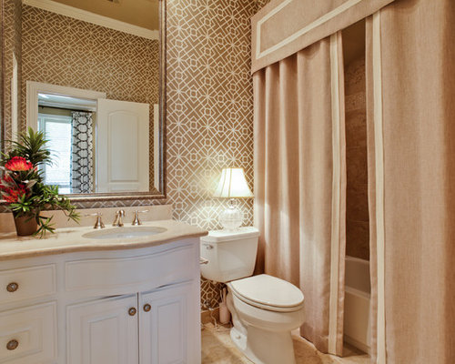 beige and white shower curtain. Inspiration for a timeless bathroom remodel in Dallas with an undermount  sink raised panel Beige Shower Curtain Houzz