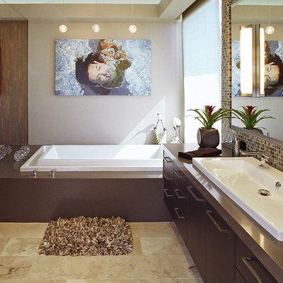 Bathroom - contemporary bathroom idea in Los Angeles with a trough sink and brown countertops