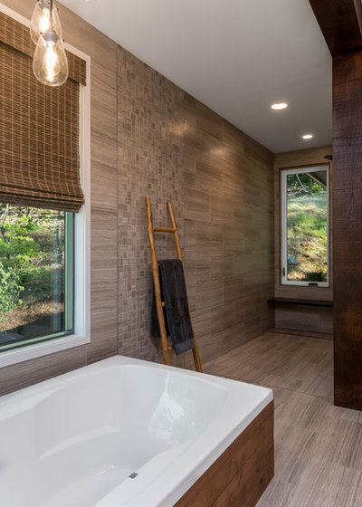 Rustic Bathroom by Living Stone Design + Build