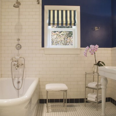 Inspiration for a timeless white tile and subway tile bathroom remodel in San Francisco with a console sink