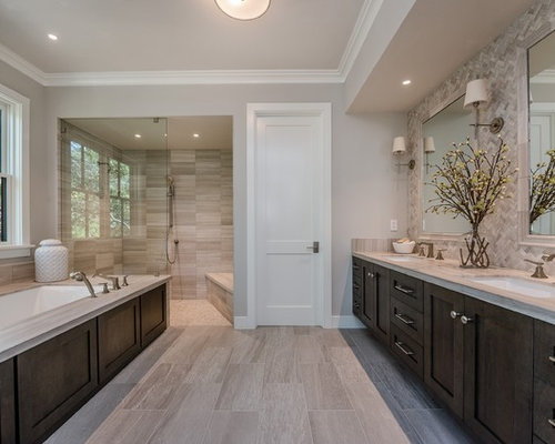 Example of a large country master gray tile and ceramic tile gray floor and  porcelain floor. Ceramic Tile Walk In Showers   Houzz