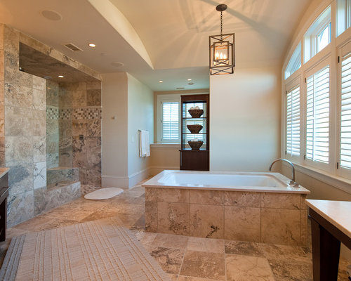 travertine bathroom. Large elegant master beige tile and travertine marble floor bathroom  photo in Charleston with flat Travertine Bathroom Houzz