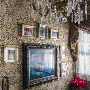 На фото: со средним бюджетом маленькие ванные комнаты в стиле фьюжн с открытыми фасадами, коричневыми фасадами, душем в нише, биде, зеленой плиткой, керамической плиткой, разноцветными стенами, полом из керамической плитки, душевой кабиной, подвесной раковиной, зеленым полом и душем с распашными дверями