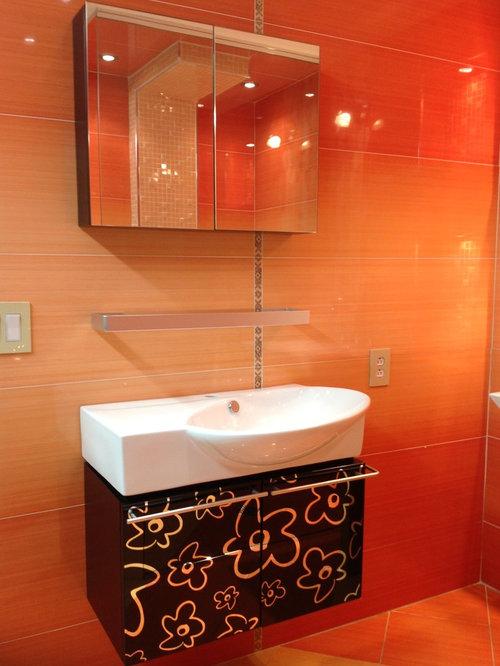 Blue Bathroom Design Ideas Remodels Photos With Orange Tile