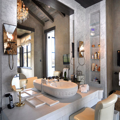 Bathroom - large rustic master gray tile, white tile and marble tile marble floor and multicolored floor bathroom idea in Denver with beige walls and a hinged shower door