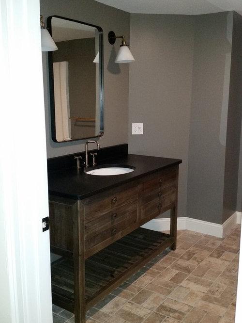 salle de bain industrielle avec un sol en carreau de terre cuite photos et id es d co de. Black Bedroom Furniture Sets. Home Design Ideas