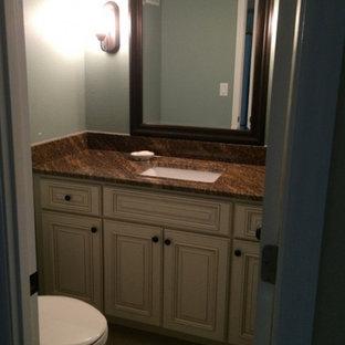 Esempio di una piccola stanza da bagno per bambini con lavabo da incasso, ante con finitura invecchiata, top in zinco e pareti blu