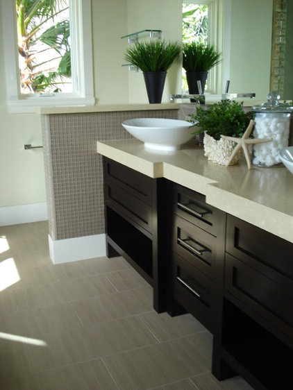 tropical bathroom by Garcia Cabinetmakers
