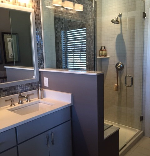 Bathroom design ideas renovations photos with blue for Blue and purple bathroom ideas