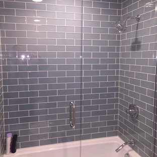 Inspiration For A Mid Sized Contemporary Gray Tile And Subway Bathroom Remodel In Chicago