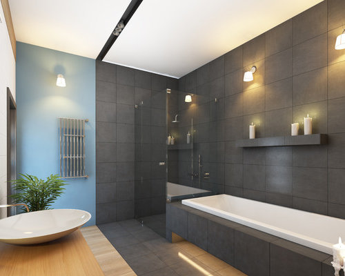 Bathroom design ideas remodels photos with bamboo floors - Togliere piastrelle bagno ...