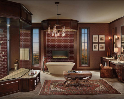 freestanding bathtub large traditional master red tile and subway tile dark wood floor and brown