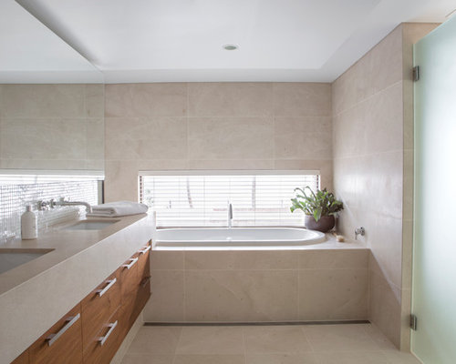Design Ideas For A Large Contemporary Bathroom In Perth With Flat Panel  Cabinets, Medium