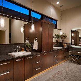 Bathroom - contemporary bathroom idea in Phoenix with a vessel sink