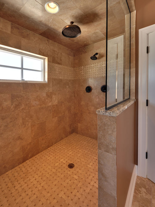 Glass half wall shower ideas pictures remodel and decor for Half wall shower glass