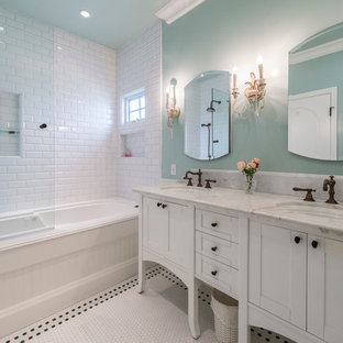 Inspiration for a mid-sized beach style 3/4 white tile and subway tile & Dark Floor And White Walls Bathroom Ideas | Houzz