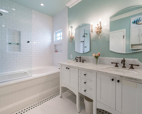 white subway tile glass mosaic bathroom design ideas, remodels