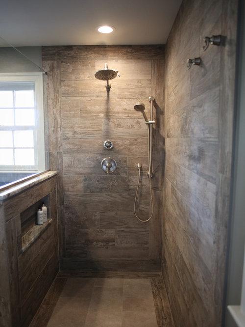 salle de bain campagne avec une douche l 39 italienne photos et id es d co de salles de bain. Black Bedroom Furniture Sets. Home Design Ideas