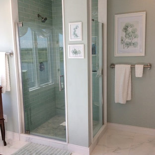 Large beach style master green tile and porcelain tile marble floor and white floor corner shower photo in Philadelphia with shaker cabinets, dark wood cabinets, a two-piece toilet, white walls, an integrated sink, quartz countertops and a hinged shower door