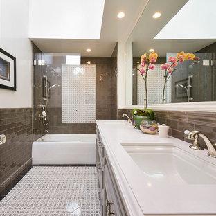Brown Subway Tiles Bathroom Ideas & Photos | Houzz on painting ceramic tiles in bathroom, all in one bathroom, vertical shower tile, small powder room bathroom, vertical garden bathroom, basic full bathroom, monkey bathroom, accent tiles for bathroom, basic training bathroom, vertical surfaces, vertical glass tile, vertical lighting bathroom, vertical tile patterns around bathtub, white bathroom, vanity stools for bathroom, beautiful master bathroom, simple bathroom, vertical rectangle tiles in bathroom, small guest bathroom, glass tiled accent walls in bathroom,
