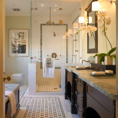 Example of a classic mosaic tile bathroom design in San Francisco with a wall-mount toilet