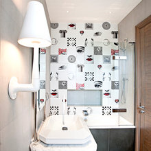 Ideas We Love: 26 Small Bathrooms with Arty, Tiled Character
