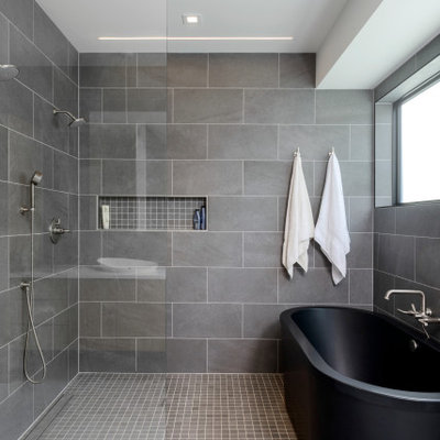 Inspiration for a mid-sized contemporary gray tile mosaic tile floor and gray floor bathroom remodel in Seattle with white walls