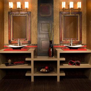 Ejemplo de cuarto de baño de estilo zen, de tamaño medio, con lavabo sobreencimera, armarios abiertos, puertas de armario beige, encimera de cuarzo compacto, baldosas y/o azulejos marrones, baldosas y/o azulejos en mosaico, paredes beige, suelo de baldosas de porcelana y suelo marrón