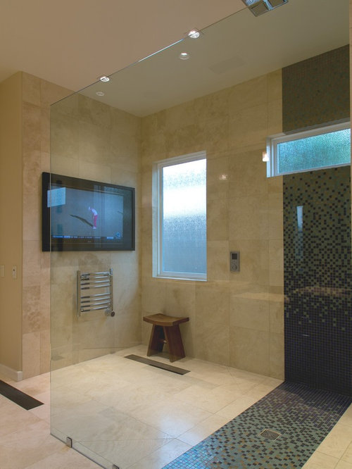 Example Of A Mid Sized Trendy Master Mosaic Tile Travertine Floor Bathroom  Design In Other