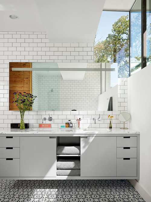 Contemporary White Tile And Subway Tile Bathroom Idea In Austin With An  Undermount Sink, Flat Part 97
