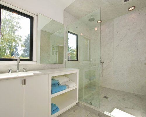 Inspiration For A Modern White Tile Bathroom Remodel In San Francisco With  An Integrated Sink,