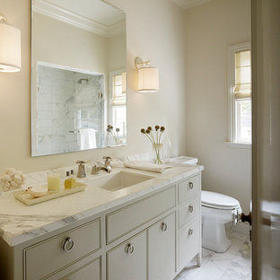 Transitional bathroom photo in San Francisco with beaded inset cabinets, an undermount sink and beige cabinets