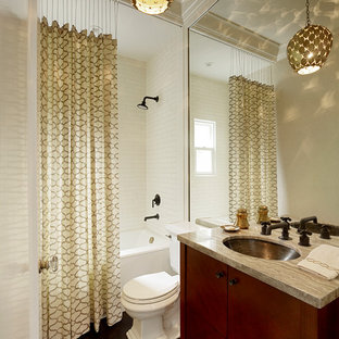 Inspiration for a transitional subway tile bathroom remodel in San Francisco with an undermount sink
