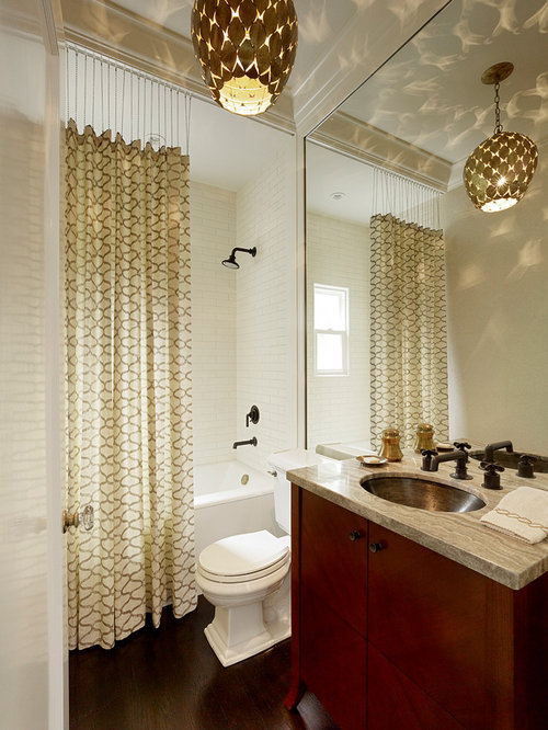 inspiration for a transitional subway tile bathroom remodel in san francisco with an undermount sink - Bathroom Designs With Shower Curtains
