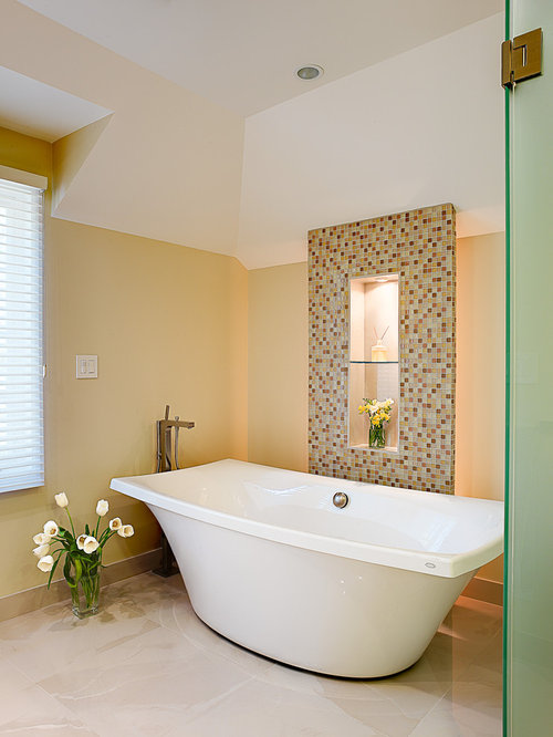 Example Of A Trendy Mosaic Tile Freestanding Bathtub Design In San Francisco