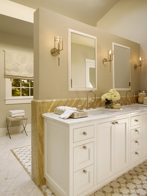 Large Transitional Master Beige Tile And Stone Tile Mosaic Tile Floor  Bathroom Photo In San Francisco