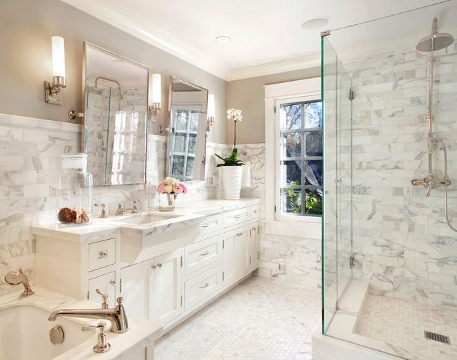 Traditional Bathroom by ScavulloDesign Interiors