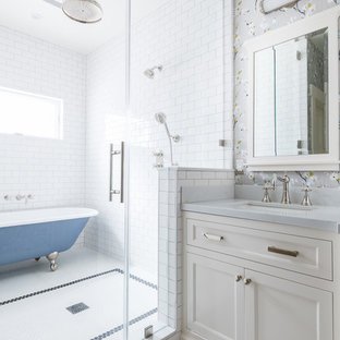 Claw-foot bathtub - traditional master white tile and subway tile mosaic tile floor and white floor claw-foot bathtub idea in Los Angeles with recessed-panel cabinets, white cabinets, gray walls, an undermount sink and gray countertops