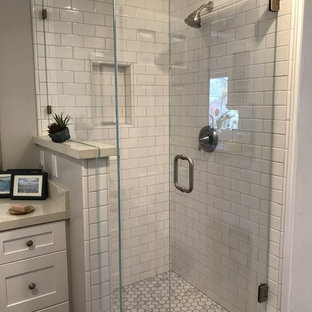 Example Of A Minimalist 3 4 White Tile And Subway Corner Shower Design In