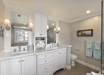 Where did you get crystal knobs? Paint color too! Gorgeous bath!