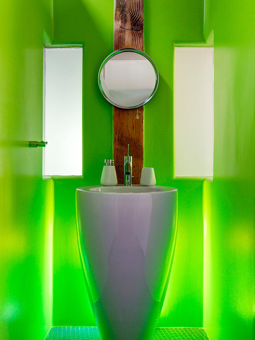 minimalist bathroom photo in montreal with a pedestal sink green tile and green walls - Modern Pedestal Sink