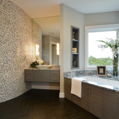 Example of a trendy bathroom design in Austin with a vessel sink