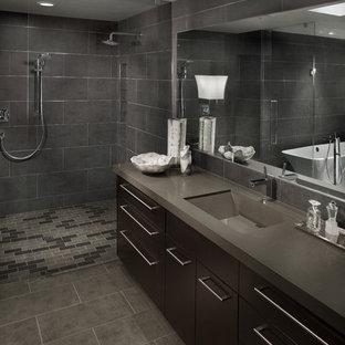 フェニックスのコンテンポラリースタイルの浴室・バスルームの画像 (オープン型シャワー、オープンシャワー、グレーの床、グレーの洗面カウンター)