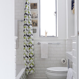 Inspiration for a contemporary bathroom remodel in New York with a console sink